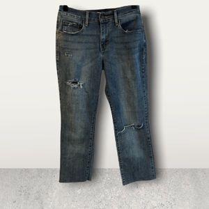 Levi's 505 Straight Cropped Raw Hem Destroyed Distressed Denim Jeans Size 27
